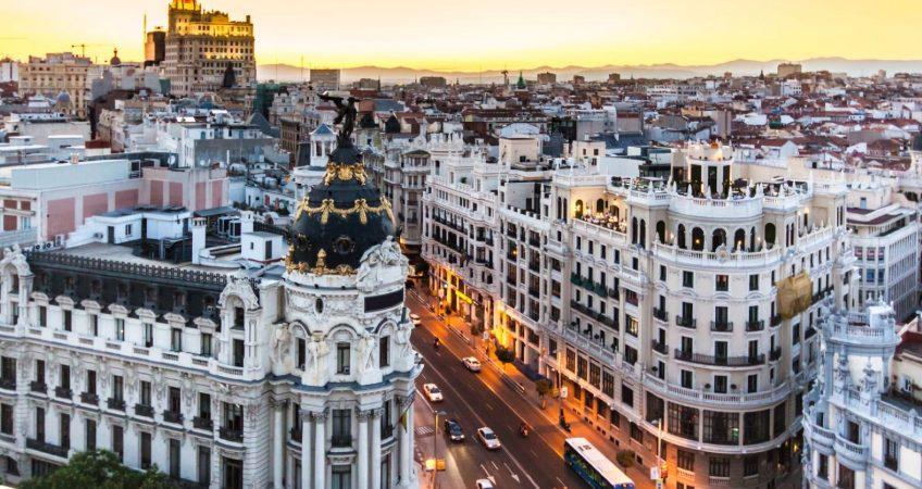 """Panoramic aerial view of Gran Via, main shopping street in Madrid, capital of Spain, Europe."""